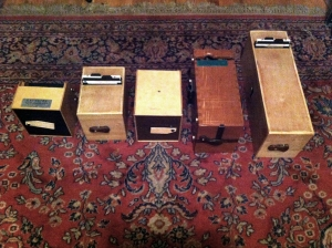 3 inch, 4.5 inch, 6 inch, 9 inch and 14 inch large format pinhole cameras.  The cameras take standard 4x5 sheets film holders.