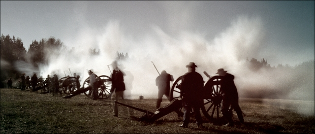 Cannons fire during a reenactment of the Battle of Champion Hill, Raymond, MS. 2012