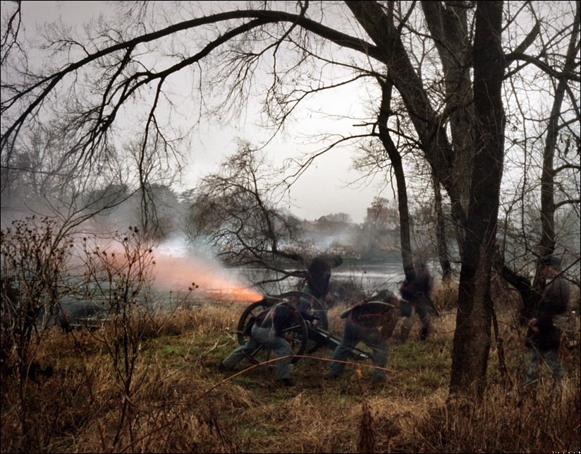 Union re-enactors fire cannons across the Rappahannock River into the City of Fredericksburg, during a reenactment of the Battle of Fredericksburg, VA. 2012
