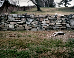 The stone wall on Marye's Heights at Fredericksburg