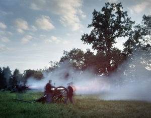 Union guns fire on Confederate attackers during a Gaines's Mill Battle Reenactment in Elizabethtown, Pa 2012