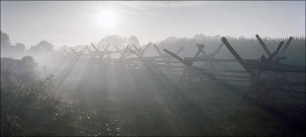 Gun smoke fills the Cornfield at Antietam