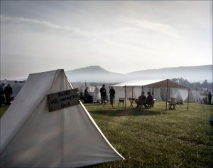 Re-enactors in camp on the Battlefield at New Market, VA. 2012