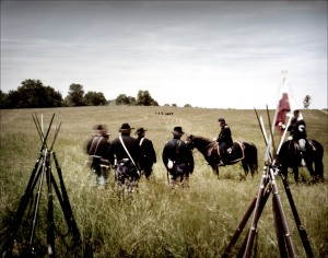 "Union officers watch as skirmishing in the distance begins the ""Battle"" at New Market, Va. 2012"