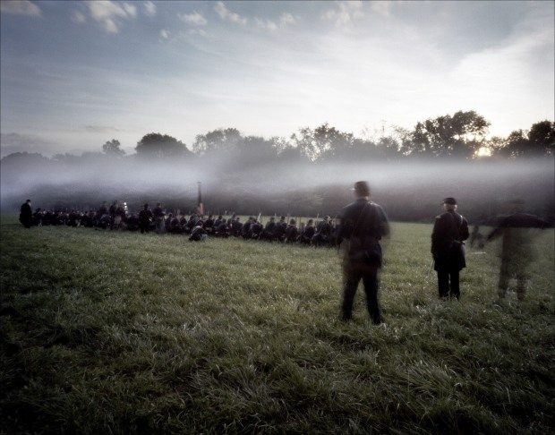 Gun smoke lingers amongst Union re-enactors during a reenactment of the Battle of Gaines's Mill in Elizabethtown, PA. 2012