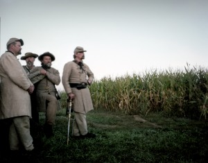 Confederate re-enactors in the Cornfield at Antietam. Sharpsburg, MD. 2012