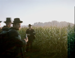 Union re-enactors in the cornfield at Antietam. Sharpsburg, MD. 2012