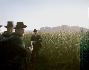 Union re-enactors in the cornfield at Antietam. Sharpsburg, MD. 2012