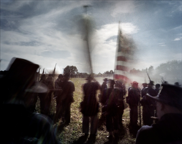 Union re-enactors storm the 2nd Texas Lunette during a reenactment of the Battle of Vicksburg, Raymond, MS. 2012