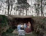 """Re-enactor Amy Clark and her kids slept in the """"Vicksburg Caves"""" during the reenactment at Raymond, MS. 2012"""