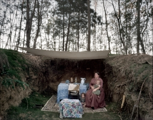 "Re-enactor Amy Clark and her kids slept in the ""Vicksburg Caves"" during the reenactment at Raymond, MS. 2012"