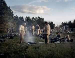 Re-enactors stir as the sunrises on the Battlefield at Raymond, MS. 2012