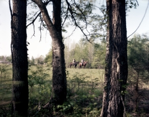 Re-enactors on horseback during a reenactment of the Battle of Shiloh, Michie, TN. 2012