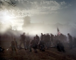 "Re-enactors storm the ""stone wall"" during a reenactment in Fredericksburg, VA. 2012"