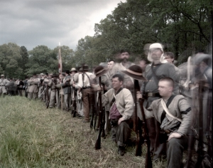 Confederate re-enactors prepare to enter the fight during a reenactment of the Battle of Shiloh, Michie, TN. 2012