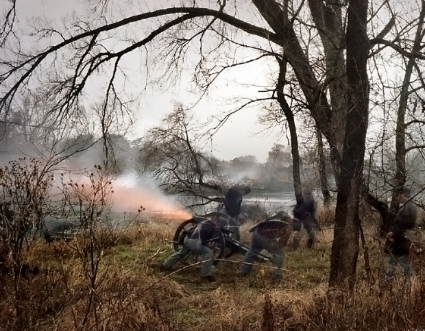 Union guns fire opening the 150th anniversary Battle of Fredericksburg in 2012