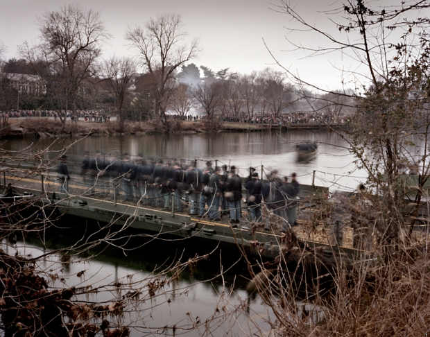 Reenactors cross a pontoon bridge over the Rappahannock River at Fredericksburg 2012