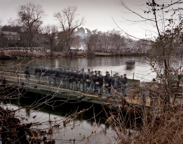 Reenactors cross a pontoon bridge over the Rappahannock River at Fredericksburg 2012