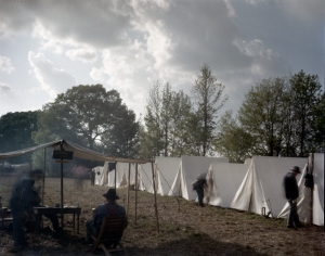 Re-enactors in camp during a reenactment of the battle of Shiloh in Michie, TN. 2012