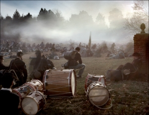 Union drummers prepare to gather the wounded during reenactment in Fredericksburg, Va 2012