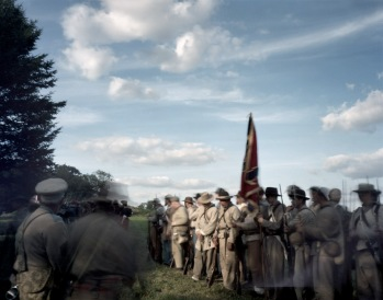 Confederate re-enactors form-up during a Seven Days Battles reenactment in Elizabethtown, Pa 2012