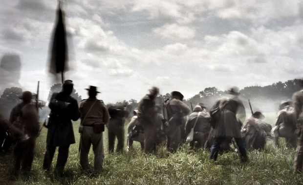 Duck, Load, Fire and Repeat.  Confederate re-enactors under fire in Elzabethtown, Pa 2012