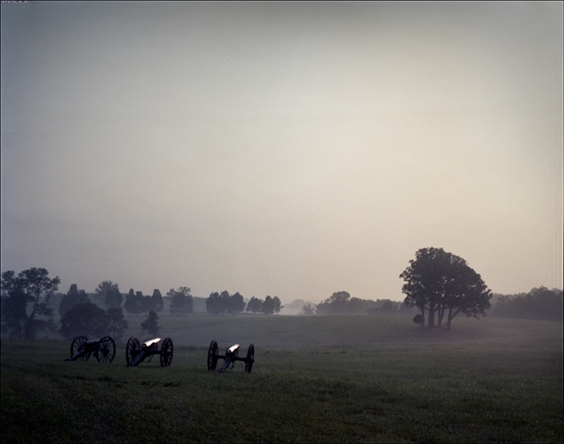 Rickett's Guns sit atop Henry Hill during sunrise on the 150th anniversary of 1st Manassas.