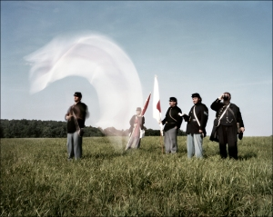 Signal flag in motion as re-enactors send messages during a battle reenactment near Gettysburg, Pa. 2012