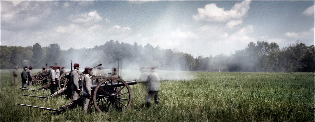 Cannons fire during a reenactment in Michie, TN. 2012