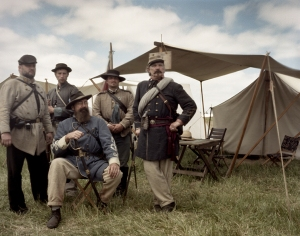 Reenactors of the 1st Virginia Regiment in camp at the reenactment of the Battle of Chancellorsville in Spotsylvania County, Va 2013.