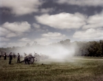 Confederate cannons fire during at the reenactment of the Battle of Chancellorsville in Spotsylvania County, Va 2013.