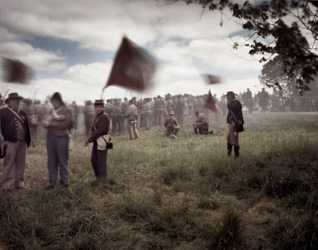 Confederate battle line at the reenactment of the Battle of Chancellorsville in Spotsylvania County, Va 2013.