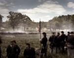 Stonewall Jackson's flank attack, from the Union perspective, during a reenactment of the Battle of Chancellorsville in Spotsylvania County, Va 2013.