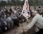 North Carolina troops kneel in prayer during a reenactment of the wounding of Stonewall Jackson, Spotsylvania County, Va 2013.
