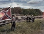Stonewall Jackson's flank march during a reenactment of the Battle of Chancellorsville in Spotsylvania County, Va 2013.