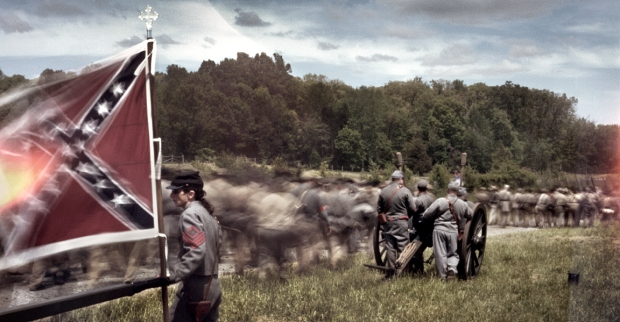 Jackson's flank march during the reenactment of the Battle of Chancellorsville in Spotsylvania County, Va 2013.