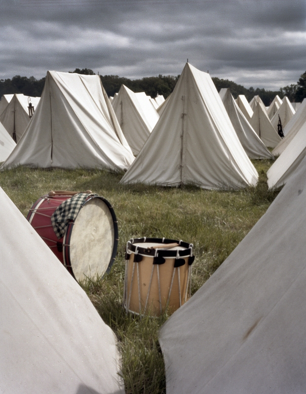 Military drums in camp at the reenactment of the Battle of Chancellorsville in Spotsylvania County, Va 2013.