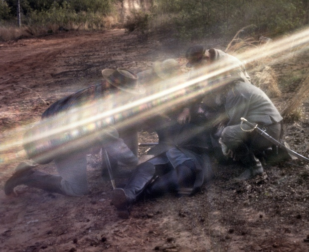 Detail of pinhole image of the reenactment of Stonewall's wounding in Spotsylvania County, Va 2013