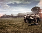 Confederate battle line faces its Union counterpart at the reenactment of the Battle of Chancellorsville in Spotsylvania County, Va 2013.
