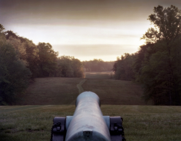 Cannon looks down the rolling landscape from Hazel Grove toward Fairview on the Battlefield at Chancellorsville, Va 2013