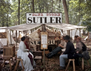 Sutler in camp during a reenactment of the Battle of Gettysburg. 2013