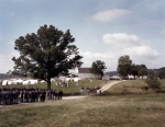 "Union troops at the Bushey Farm arrive at the ""Town of Gettysburg"" during a reenactment in Gettysburg, Pa. 2013"