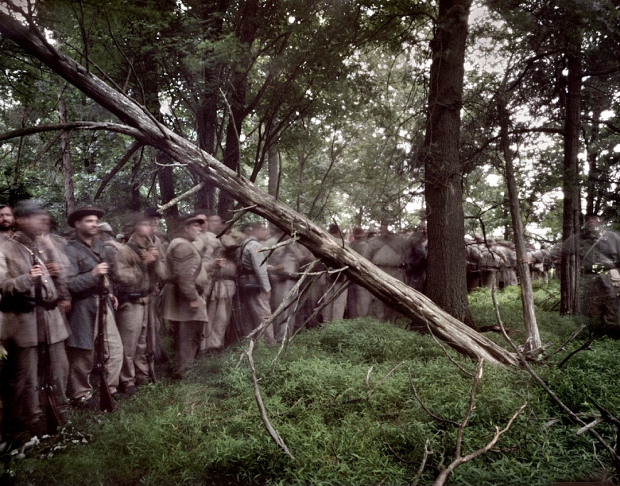 Confederate troops deploy in the woods and wait for the battle to come. Gettysburg, Pa. 2013