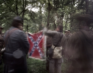 The 14th Tennessee prepare their battle flag on the Bushey Farm, Gettysburg, Pa 2013