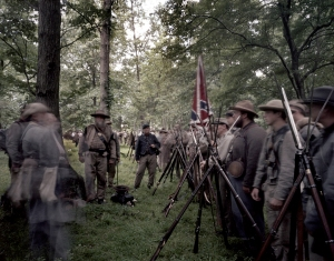 14th Tennessee regiment CSA stand at ease awaiting the afternoon battle. Gettysburg, Pa. 2013