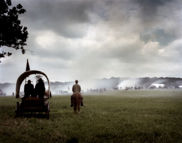The Confederate guns fire during a reenactment in Gettysburg. 2013