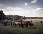 Troops gather water from a  horse drawn wagon on the Bushey Farm, Gettysburg, Pa 2013