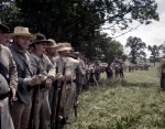 Confederate troops form-up during a reenactment in Gettysburg, Pa. 2013