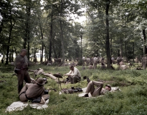 "Confederate reenactors rest before ""Pickett's Charge"" on the Bushey Farm, Gettysburg, Pa 2013"