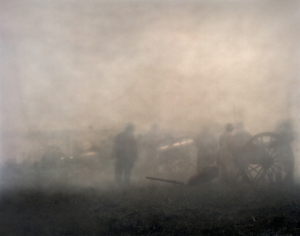 Black powder smoke fills the air during the last day of fighting at Gettysburg.